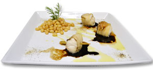 Monkfish larded with Balsamic Vinegar Reduction and Zolfini Beans